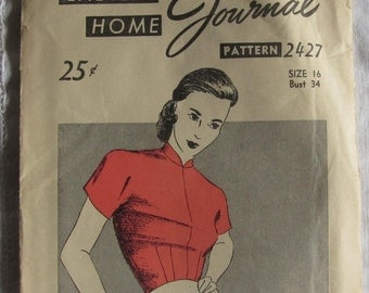 Vintage 40s Blouse Pattern Ladies Home Journal Bust 34 Mail Order FF