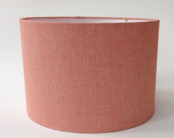 "Modern Coral Linen Drum Lampshade 16"" Diameter X 11"" Tall - Ready to Ship"