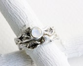 Rainbow Moonstone,White Sapphire Engagement Ring Set, Silver Twig Rings, Leaf Ring