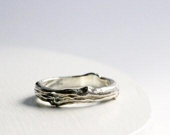 Mens Silver Branch Band Ring, Mens Wedding Ring, Mens Branch Ring-style 6