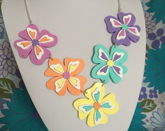 Retro pansy statement necklace laser cut acrylic