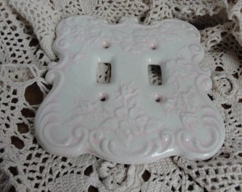 Vintage shabby chic pink light switch cover plate, ceramic switch cover