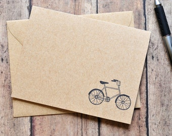 Bicycle Cards // Set of 4 // Blank Cards // Stationary Set // Kraft Cards // Just Because // Thank You Cards // Love Letter // Happy Mail