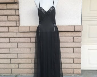 Vintage Black Lace Chiffon Nightgown w/Beading by Adonna Size S-M