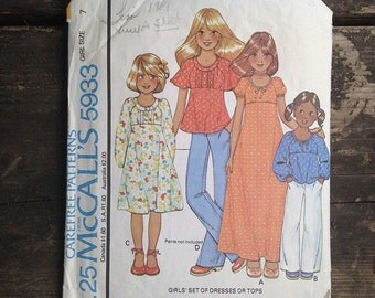 Vintage Mccalls Carefree Pattern 5933 Girls Set Dresses and Tops 1978 Retro Sewing Pattern.