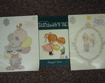 Vintage Precious Moments and Ruthie Joy & Tad cross stitch from the 1980's  PM Wedding book and Book of Clowns, Ruthie Enchantment series