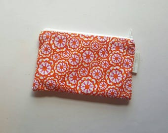 Zippered Pouch, Orange and Pink Floral, Ready to Ship