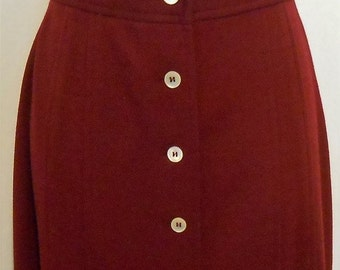 Black Friday Vintage, Skirt, Knit, Button Front, Burgundy, 1960s, Size 10, 26 Waist, Maxi Skirt, 60s does 40s, Knit Skirt, Vintage Knit Skir