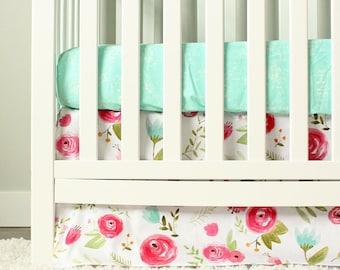 Floral Crib Bedding, Mint, Pink Baby Girl Nursery Bedding Set, Bird Minky Blanket, Birch Tree Rail Guard