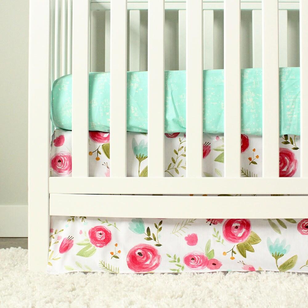 Floral Crib Bedding Mint Pink Baby Girl Nursery Bedding Set