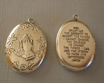 Prayer Oval Photo Locket Hands in Prayer Cristian Catholic Ox Silver Brass  Pendant.