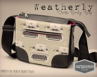 Weatherly Cross Body Messenger bag in Cotton + Steel Typewriters Purse