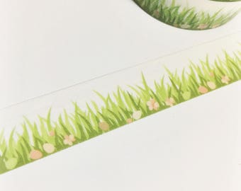 Dark and Light Lime Green Grass Eggs Flowers Floral Easter Egg Washi Tape 11 yards 10 meters 15mm