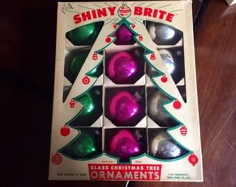 Vintage Shiny Brite Green Pink Silver Mercury Glass Ornaments Mid Century Christmas