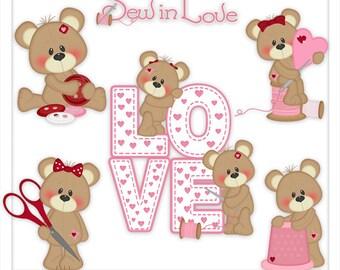 Sew in Love Bear Clipart (Digital Zip Download)