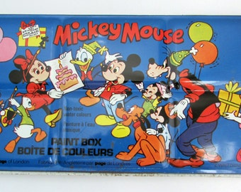 1960s Mickey Mouse watercolor paint box made in England, never used