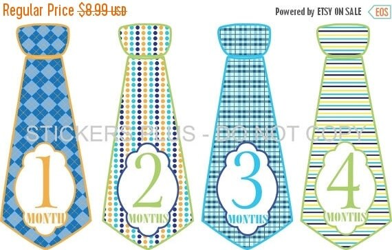 SALE Monthly Baby Stickers Baby Boy Neck Tie Necktie Stickers Baby Month Stickers Fancy Blues Greens Argyle Dots Plaid Stripes 1-12 Month