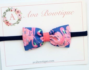 Lilly Pulitzer Inspired Bow Headband, Gimme Some Leg Flamingo Bow Headband, Baby Bow Headband - Baby Lilly P Headband