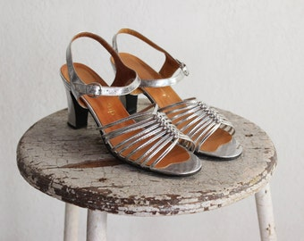 1970s Metallic Strappy Sandals / Bianca Shoes