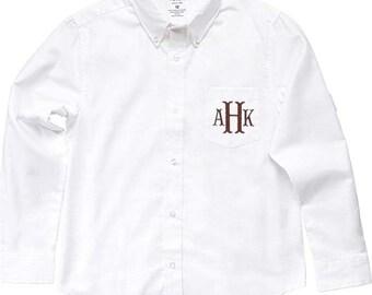 Monogrammed White Oxford shirt, boys long sleeve Shirt, Ring Bearer clothes, Beach Wedding, Photos, Graduations...6m-10 yrs