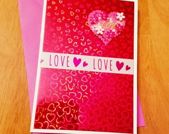Love Valentine Card, Red hearts foiled card, sweetheart, Happy Valentine's Day card, handmade Valentine card