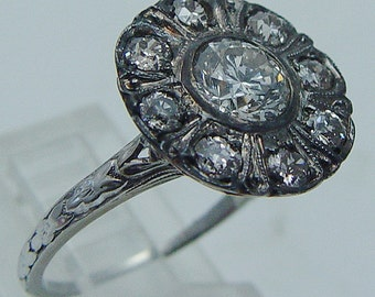 Vintage 18K White Gold .90ct center 1.30cttw Diamonds Ring Jewelry