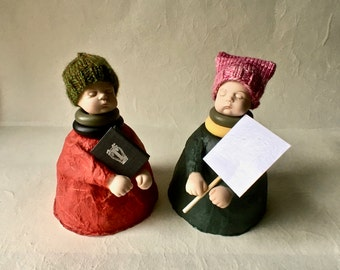 Mixed Media Papier Mache Doll Sculptures with Beanies and Books or Pussy Hats and Placards