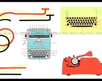 Olivetti Underwood Typewriter Vintage Graphics Art Photograph 8x12, Mid Century