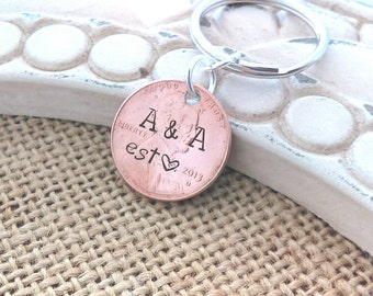 Couples initial penny, initial penny key chain, penny initial, personalized penny