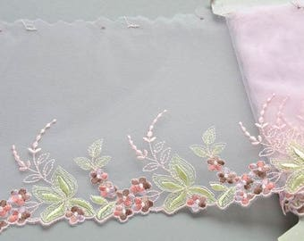 Pink Flowered Trim, Pink and Green Floral Lace, Leafy Flower Lace, Pink Lingerie, Dolls Dress, Ballet Costume, Upcycling with Lace
