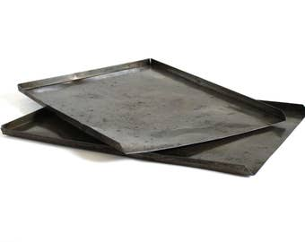 Expanding Cookie Sheets Antique Baking Trays Food Photography Prop Darkened Seasoned