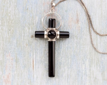 Art Deco Cross Necklace - Sterling Silver and Jet Black Glass Crucifix Pendant on Chain