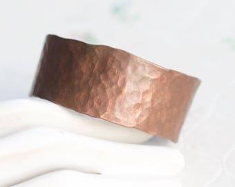 Hammered Copper Cuff Bracelet - Simple Boho Bracelet