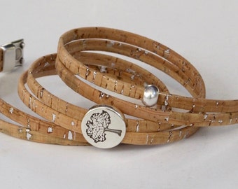Natural Cork Wrap, Whirly Wrap bracelet, Cork, silver sparkling flecks, soft cork, silver Tree of Life, secure magnet, easy on and off
