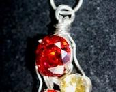 Spessartite Garnet, Padaradsha & Yellow Sapphire Triad