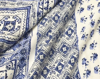 new arrival chiense blue and white porcelain flower and grid pattern strip chiffon fabric by yard