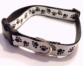 "Black and White Dog Collar, Dog Collar, White Dog Collar, Black Dog Collar, 1"" Dog Collar - White with Black Paws 