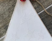 White rustic Christmas tree wooden banner