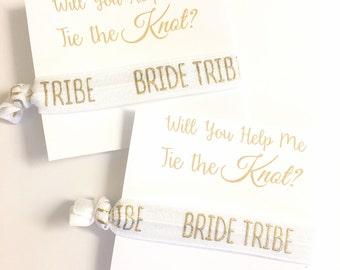 Bridesmaid Gift - Tie the Knot Bridesmaid Gift - Will you be my Bridesmaid Gift - Bridesmaid Hair Tie - Bride Tribe Wedding Favor