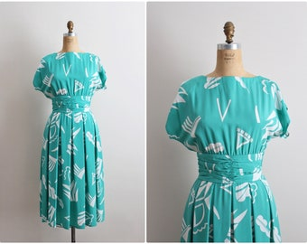 80s Geometric Day Dress / 1980s does 1950s Dress / Size S/M