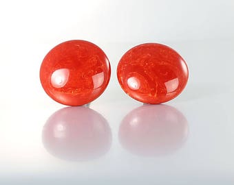 Paprika Red Bakelite Earrings, Button Domed Earrings Marbled Bakelite, vintage jewelry