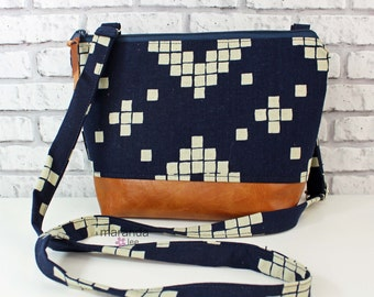 BRI Large Messenger Bag - Indigo Tiles - READY to SHIP  Adjustable messenger Zipper Purse