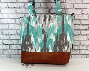 Lulu Large Tote in Ikat Canal and PU Leather  READY to SHIP 6 pockets Nappy Bag Work Purse