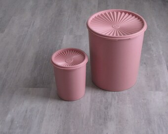 Vintage Pink Tupperware Canisters - Set of Two