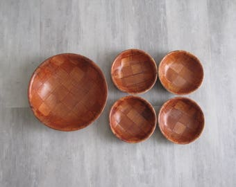 Vintage Wooden Woven Salad Bowl Set - salad bowl, 4 bowls