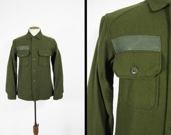 NOS Vintage US Army Jac Shirt Wool Military Olive Green Field Shirt 1970s Deadstock - Small