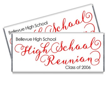 Set of 12 - Script High School or College Reunion Candy Bar Wrappers - Personalized Reunion and High School Party Favors