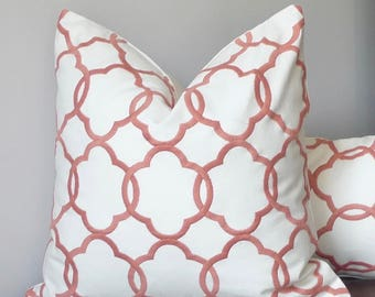 Embroidered Lattice Throw Pillow, Coral Pink Trellis Designer Pillow Fretwork Abstract Crewel Pillows
