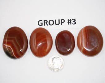 Polished Carnelian Agate Freeform Cabochons Pack of 4 - Group #3