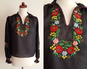 Vintage Hungarian Blouse - 1970's Black Hand Embroidered Peasant Blouse - Size M
